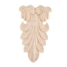 1 Uds. 8*4,5 cm talla de madera aplique muebles de madera de roble molduras decorativas calcomanía gabinete puerta madera figurita Flor de manualidades Junta