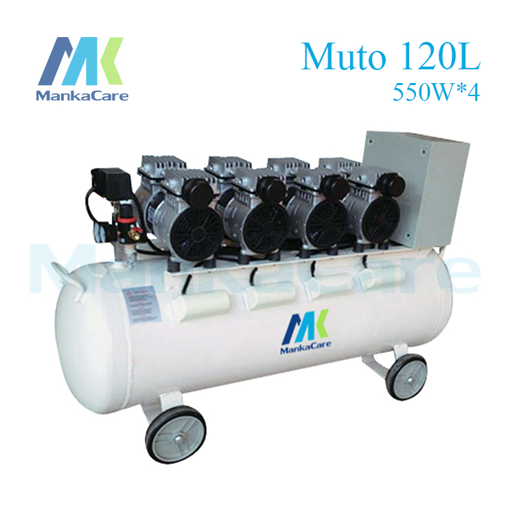 Manka Care 2200W Dental Air compressor 120L Tank Oil Free Rust-proof chamber/Tank/Silent/Flush air pump/ Dental Medical Clinic oil free air compressor high pressure gas pump spray woodworking air compressor small pump 3 1100 100l