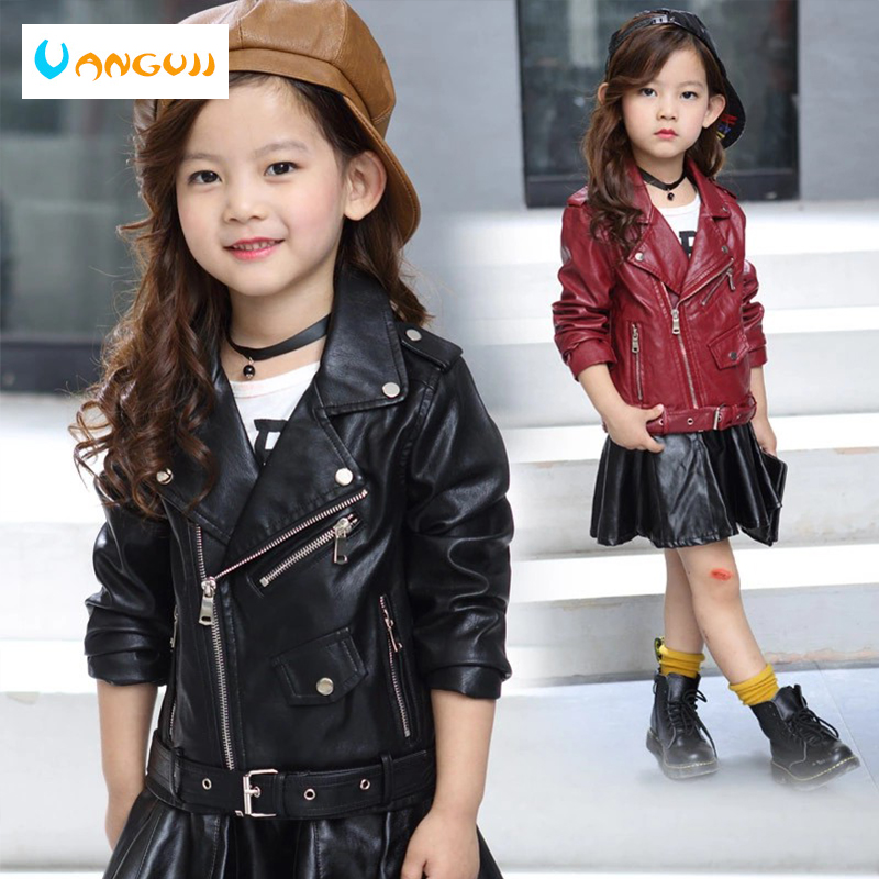 girls coat children's pu jacket kid outwear solid color Zipper belt long sleeve Casual Girls motorcycle jacket spring 2 laundry by shelli segal new red long sleeve zipper jacket 2 $149 dbfl