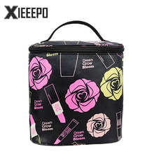 Barrel Shaped Zipper Travel Cosmetic Bag Fashion Women Make Up Bag Makeup Case Necessaries Organizer Storage Pouch Toiletry Bag