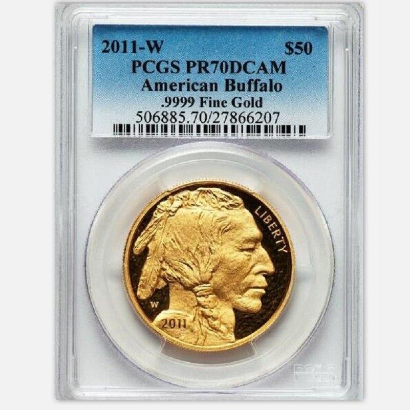 2011 de tungstène pièces plaqué 1.5 grammes. 999 or fin NOUS Buffalo médaille classé PF70 1 oz avec origianl support et cas