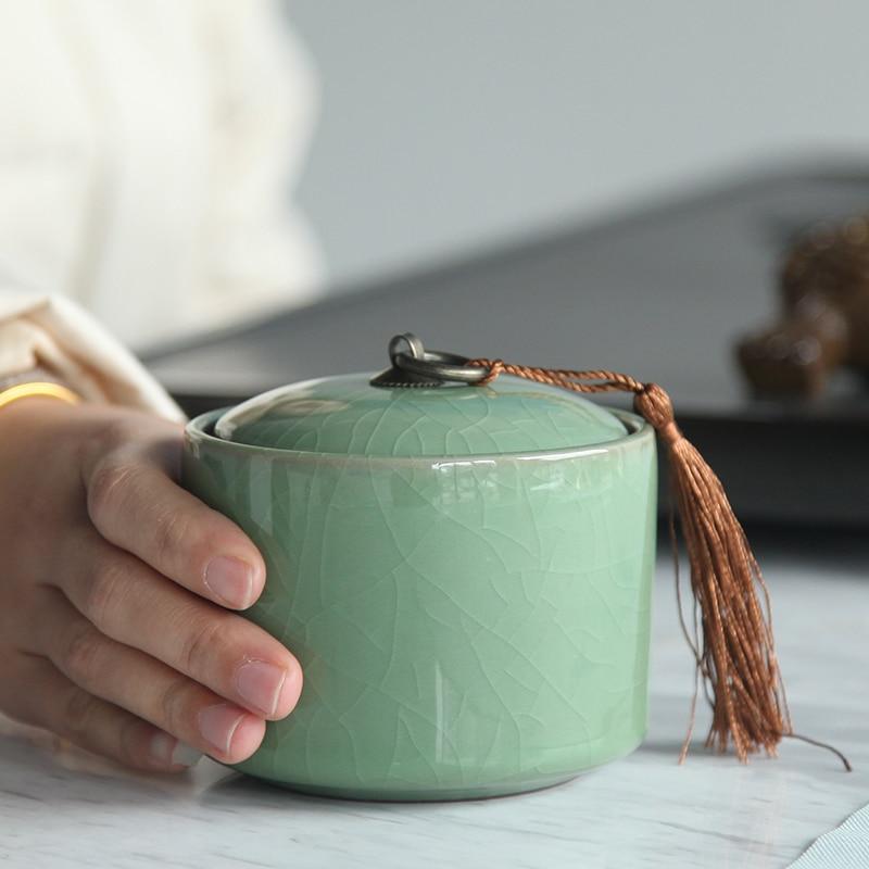 Porcelain Tea Caddy Ceramic Jar Box Travel Portable Tea Barn Puer Can Storage Box Ceramic Jar Celadon Tea Pot