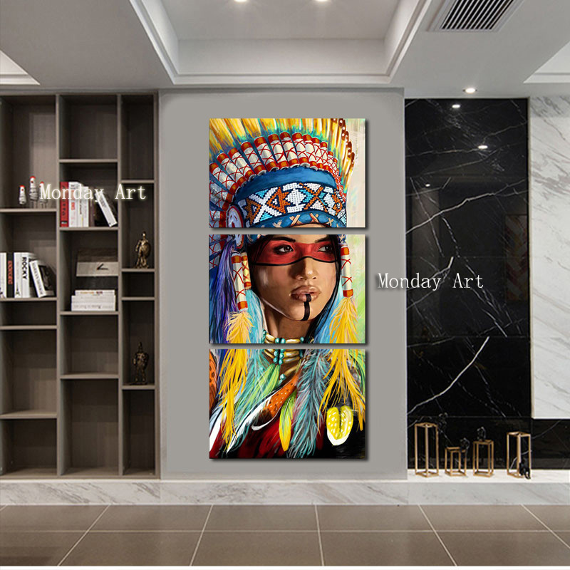 Christmas gift hand painted Modern Indian beauty Painting high quality Wall Art Canvas painting Home Decora figure Art picture in Painting Calligraphy from Home Garden