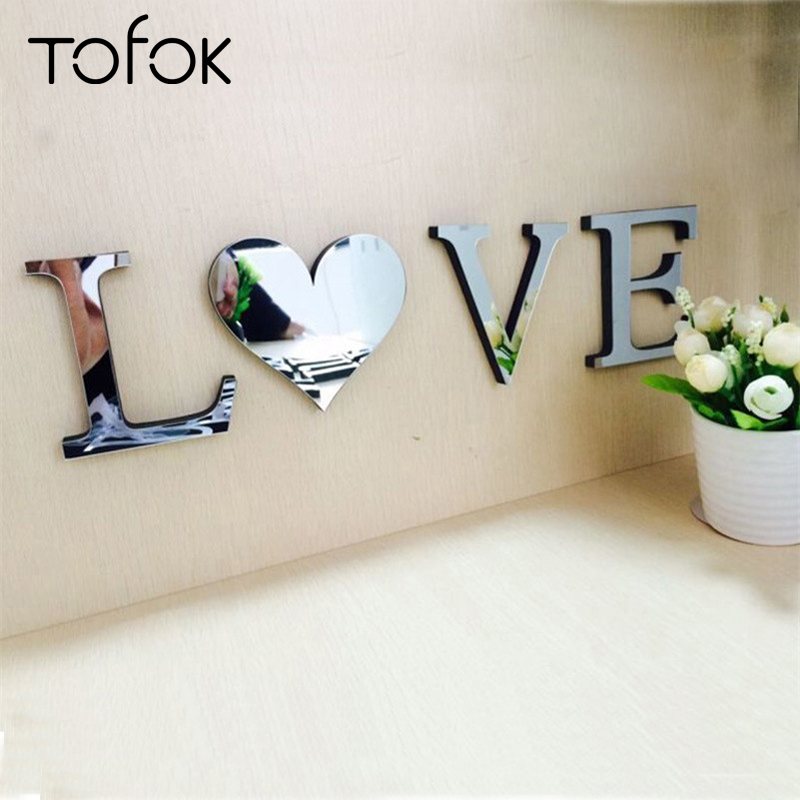 Tofok DIY Mirror Surface Wall Stickers Acrylic Home Decoration Creative Letters Bedroom Office Decor Living Room Wall Decals