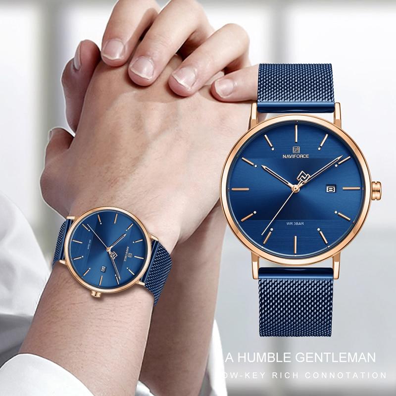 NAVIFORCE Quarts Watch Men Luxury Brand Stainless Steel Mesh Strap Wristwatch Large Mens Watches relogio masculino