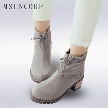 plus size 34-43 Fashion Spring Autumn Platform Ankle Boots Women Lace Up Thick high heel Martin Boots Ladies Winter Snow shoes plus size 34 43 fashion women boots with warm plush shoes spring autumn winter lace up punk flats round toe ankle martin boots