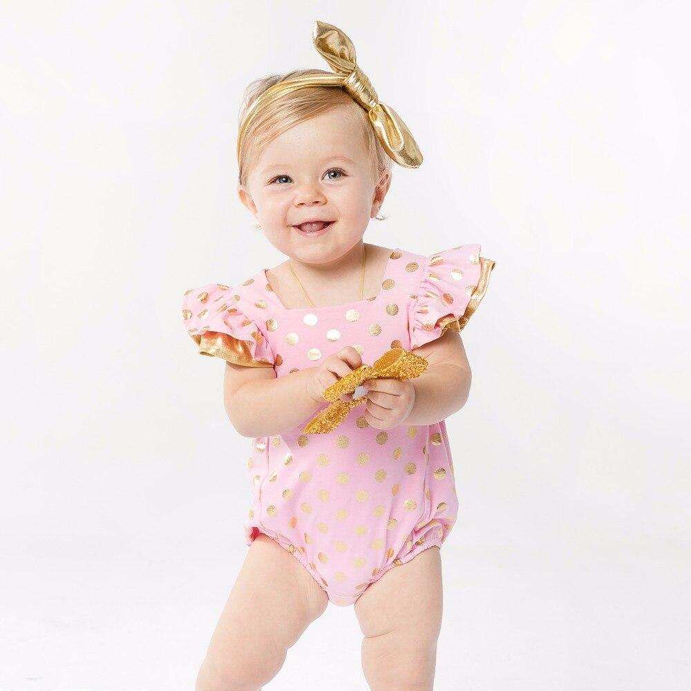 YK & Loving Cute Baby rompers for girls հագուստի անլոր Ruffles Gold Polka Dot Pink Սև մանկական հագուստ նորածին մանկան աղջիկ հագուստ