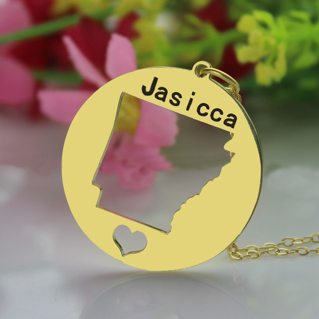 Personalized USA Name Necklace I Heart Arkansas State Necklace America Home Charm Gold Disc Map necklace Anniversary Gift
