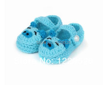 Crochet Cotton Soft  Baby  Sky Blue Knitting  Chic Cute Pig Shape Baby  Shoes  Warm Toddler shoes 0-12M First walkers shoes
