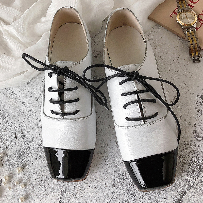 XiuNingYan Luxury Brand Shoes Woman Genuine Leather Women Flat Shoes Lace up Fashion Handmade Woman Casual Oxfords Driving Shoes