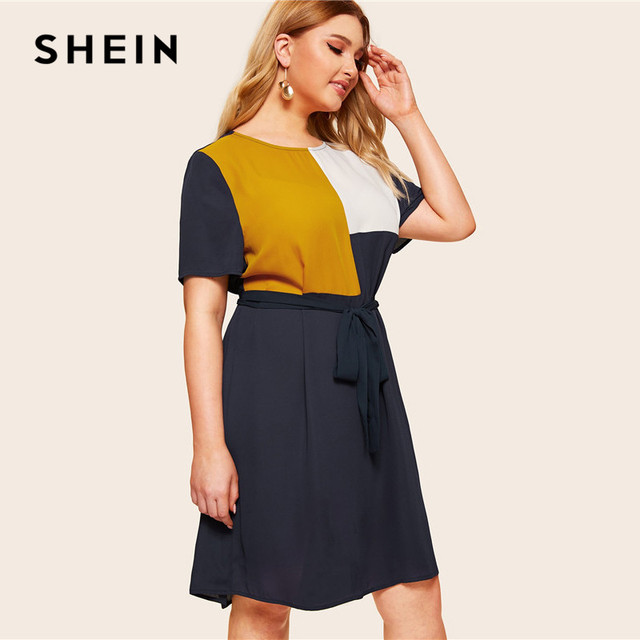 SHEIN Plus Size Waist Belted Color Block Dress Women Summer Tunic Short Sleeve Keen Length Casual Plus Shift Dresses With Belt 3