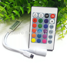 NEW Strip Controller 24key Mini LED Controller RGB Colorful With IR Remote Controlfor SMD5050/2835/3528 Led Strip DC12V(China)
