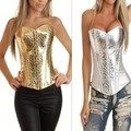 Hot Sexy Faux leather Overbust lace up g string gorgeous corset bustier women's party club top Gold/Sliver