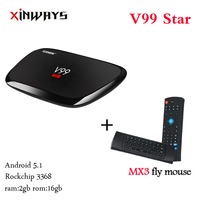Xinways V99 gwiazda RK3368 android 5.1 octa rdzeń 2 gb ram 16 gb rom 2.4G/5 GHz z ac wifi 4 K Full HD BT 4.0 zestaw top box