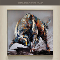 China Skills Artist Pure Hand Painted High Quality Bull Oil Painting On Canvas Handmade Animal Ox