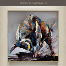 China Skills Artist Pure Hand-painted High Quality Bull Oil Painting On Canvas Handmade Animal Ox For Decoration