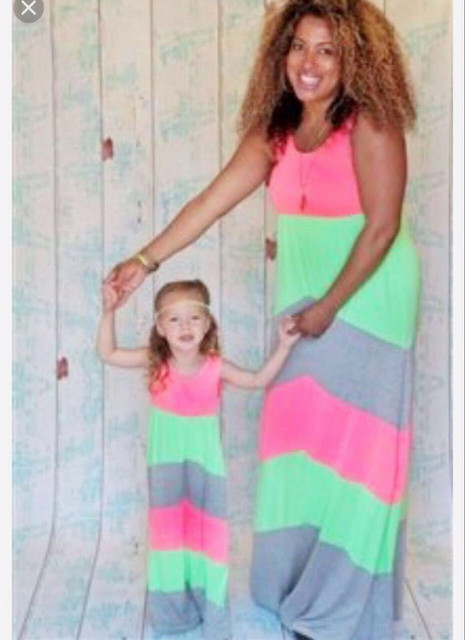 f38aaffc5a Family Matching Mother Daughter Dresses Mom Daughter Outfits Mama Bear Baby  Bear Striped Beach Mum Baby and Mom Long Maxi Dress