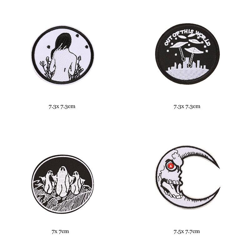 1 шт., черные, белые байкерские нашивки для одежды, железная одежда, аппликация с буквами, Череп, звезда, полосы, вышитая наклейка, круглый значок