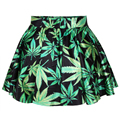 Product Leaf Womens Pleated Skirt For 2016 New Spring with Black Milk 3D Print