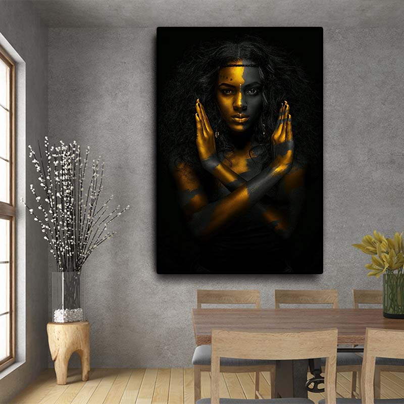 Black and Gold African Nude Woman Indian Oil Painting on Canvas Posters and Prints Scandinavian Wall Art Picture for Living Room(China)