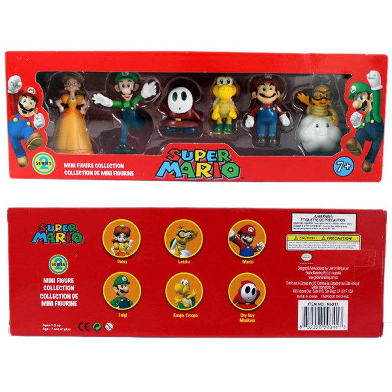 6Pcs Set 3 7cm Super Mario Bros PVC Action Figure Toys Dolls Mario Luigi Yoshi Mushroom Donkey Kong In Gift Box Lovely Kids Gift in Action Toy Figures from Toys Hobbies