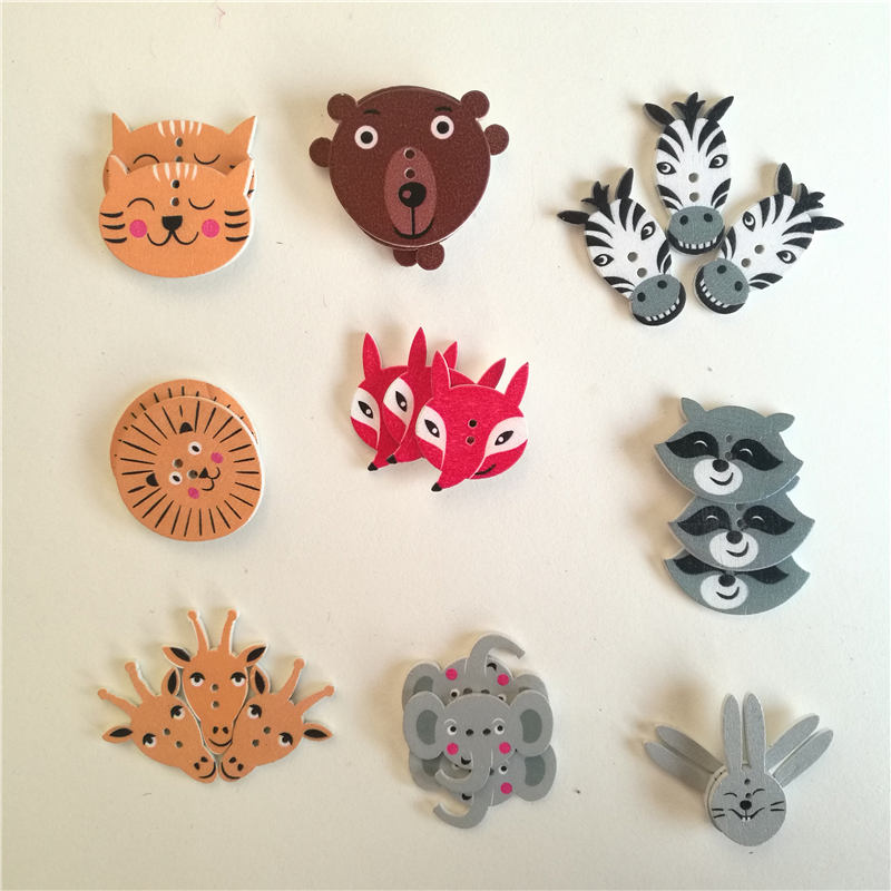 50PCs Random Mixed Scrapbooking <font><b>Buttons</b></font> Wooden <font><b>Buttons</b></font> Animal Sewing Accessories Two Holes Wood Decorative Sewing <font><b>Button</b></font> 5-<font><b>30mm</b></font> image
