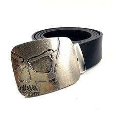 I nuovi mens di arrivo grande fibbia cinture cinture di marca per gli uomini di alta qualità DELLUNITÀ di elaborazione della cinghia di cuoio cowboy Con Il cranio fibbia della cintura metallo