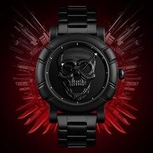 Скелет череп часы Для мужчин часы Элитный бренд кварцевые часы Для мужчин Водонепроницаемый Нержавеющаясталь мужские спортивные часы Relógio Masculino