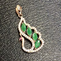 Collier Qi Xuan_Trendy Jewelry_Colombian Green Stone Peacock Necklaces_Rose Gold Color Pendant Necklaces_factory Directly Sales