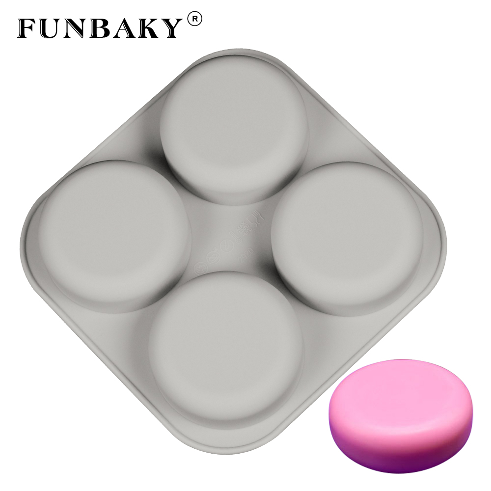 FUNBAKY 4 Cavity 3D Silicone Soap Molds Handmade For Making Mould Round Shape Loaf Making Formy Silikone DIY Hand MadeFUNBAKY 4 Cavity 3D Silicone Soap Molds Handmade For Making Mould Round Shape Loaf Making Formy Silikone DIY Hand Made