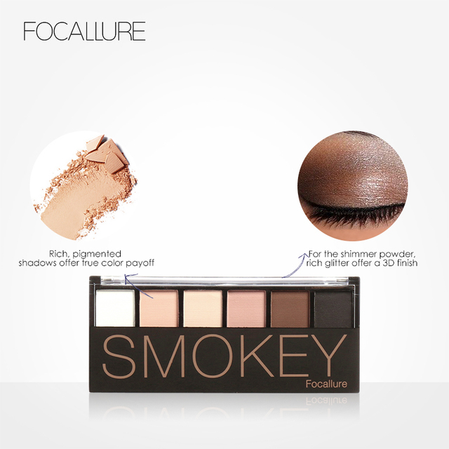 FOCALLURE 6 Colors Eye Shadow Makeup Shimmer Matte Eyeshadow Earth Color Eyeshadow Palette Cosmetic Makeup Set Nude Eye Shadow 2