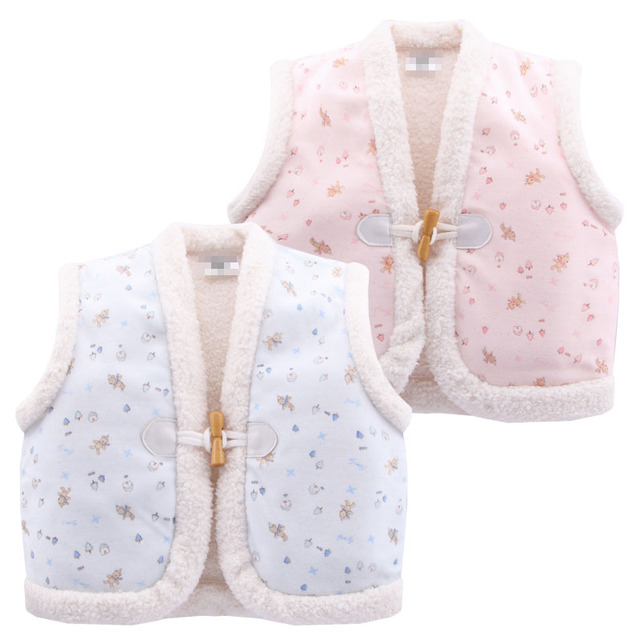 2017 Cute Fashion 6-24M Boy Girl Baby Print Cotton Vests Warm Thick Autumn/Winter Kids Waistcoats Baby Outerwear Clothing