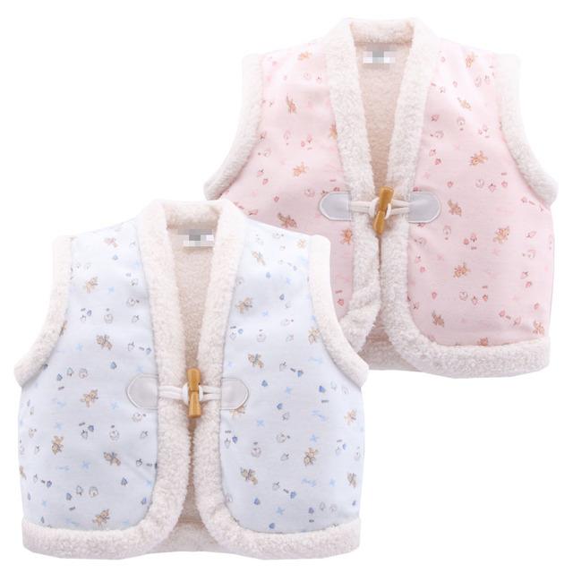 2017 lindo de la manera 6-24 m niño niña impresión de algodón chalecos gruesos calientes de otoño/invierno niños chalecos bebé clothing prendas de vestir exteriores