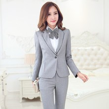 Formal Uniform Design Female Pantsuits Novelty Grey With Jackets And Pants Professional Business Work Suits Ladies Trousers Set