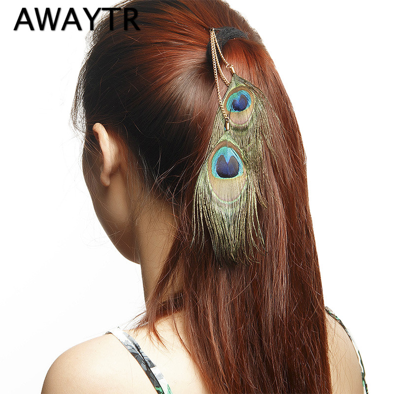 New Women Festival Peacock Feather Clip In Hair Extensions Fashion Feather Hair Plume Cheveux Feather Feather Head Piece