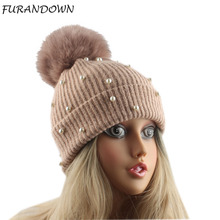 mink and fox fur ball cap pom poms winter hat for women girl 's hat pearl wool knitted beanie cap brand new thick female cap стоимость