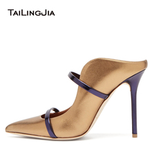 купить Pointed Toe Women Pumps High Heels Slip on Fashion Satin Thin High Heels Women Mules Elegant Ladies Shoes Slippers Women Shoes по цене 3893.11 рублей