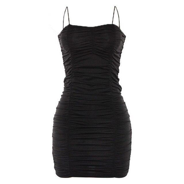 JAYCOSIN 2019 New Summer Women Dress Sexy Spaghetti Strap Fashion Black Charming Sheath Ruched Bodycon Slim Mini Club 9032251 4