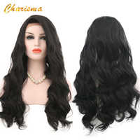 Charisma Body Wave Synthetic Lace Front Wig 24 Inch 150% Density Black Color Wigs With Natural Hairline Wigs For Women
