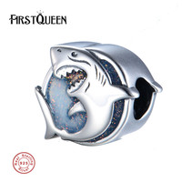 FirstQueen Pure 925 sterling silver Ocean Shark Enamel Charms Beads Fit bracelets & bangles perles pour la fabrication de bijoux