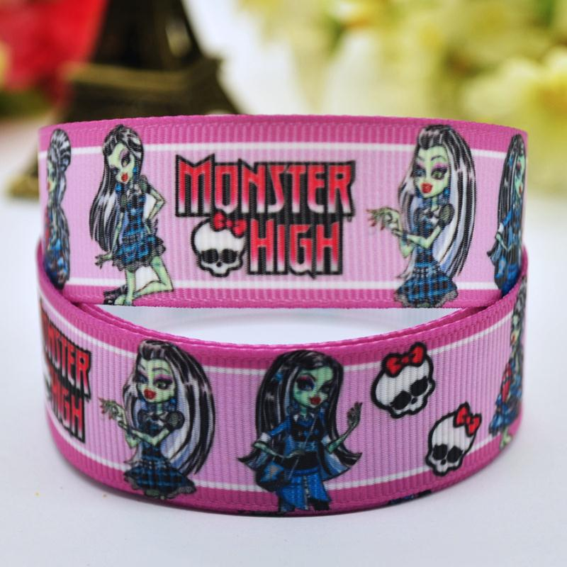 7/8 «22 мм Monster High Frankie Stein мультфильм печатных полушерстяной лентой вечерние украшения, атласные ленты Швейные принадлежности 10y x-00053