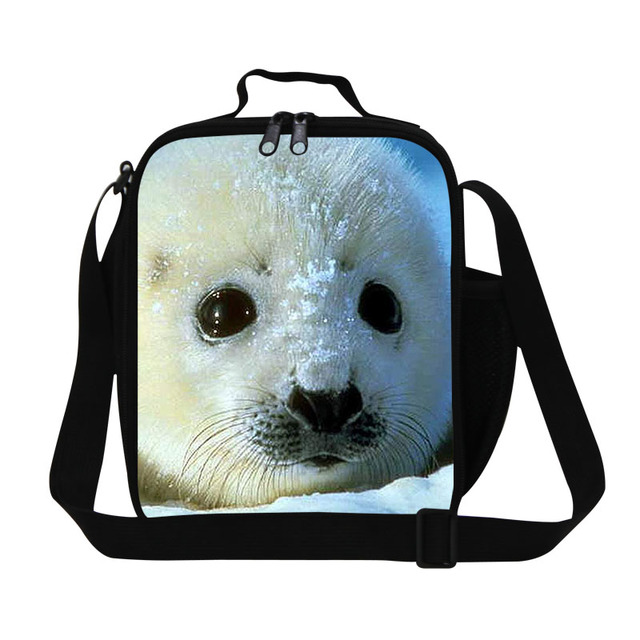 91369cab1b41 Childrens Animal Lunch Bags Cute Seal 3D Print Lunchbag For Office Mens  Small Sling Bag Thermal Waterproof Food Shoulder Bag