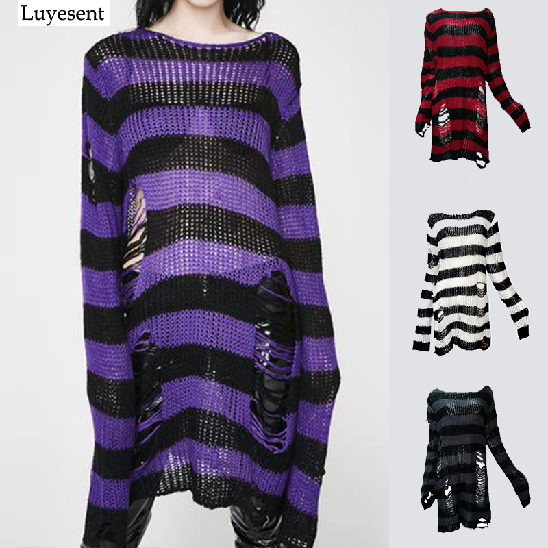 Plus Size Punk Gothic Long Unisex Sweater Women Man Striped Cool Hollow Out Hole Broken Jumper Couple Loose Rock Thin Sweaters
