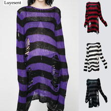 7cf8b6e85f Women Gothic Punk Striped Long Sweaters Character Cool Hollow Out Hole  Broken Thin Pullover Knit Sweater