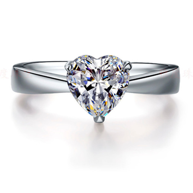 16e990793381b Rife 1Ct Heart Shape Solitaire Synthetic Diamonds Rings Solid 925 Sterling  Silver Ring White Gold Color Engagement Jewelry