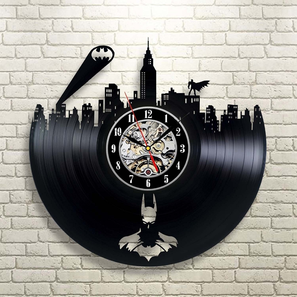 Dark Knight Joker Batman Movie Characters Vinyl Record Design Wall Colorful Geometric Shapes Circuit Board Pattern Square Clock Arkham City Logo Best Decorate Your Home With Modern Large Superhero Art