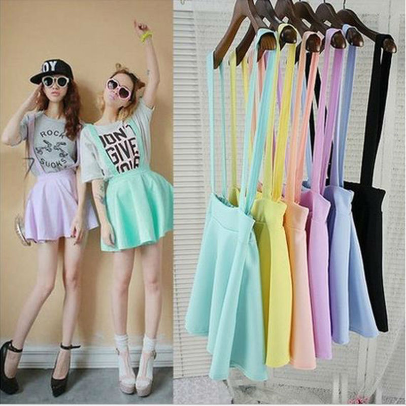 Korean Fresh candy-colored College Wind waist strap rendering skirts Sweet Cute Retro Pleated Skirt With Shoulder Straps vestido