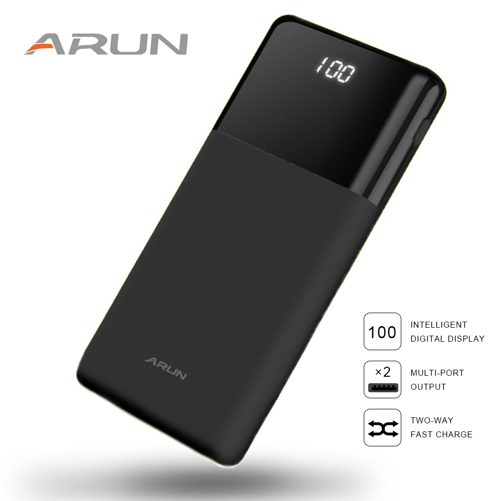 ARUN Power Bank 20000 mah LCD externe batterie power Tragbare Mobile Schnelle ladung Batterien für iPhone Samsung poverbank fall