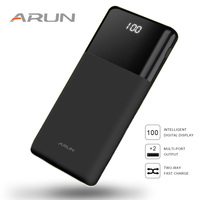 ARUN Power Bank 20000mah LCD external battery powerbank Portable Mobile Fast charge Batteries for iPhone Samsung poverbank case