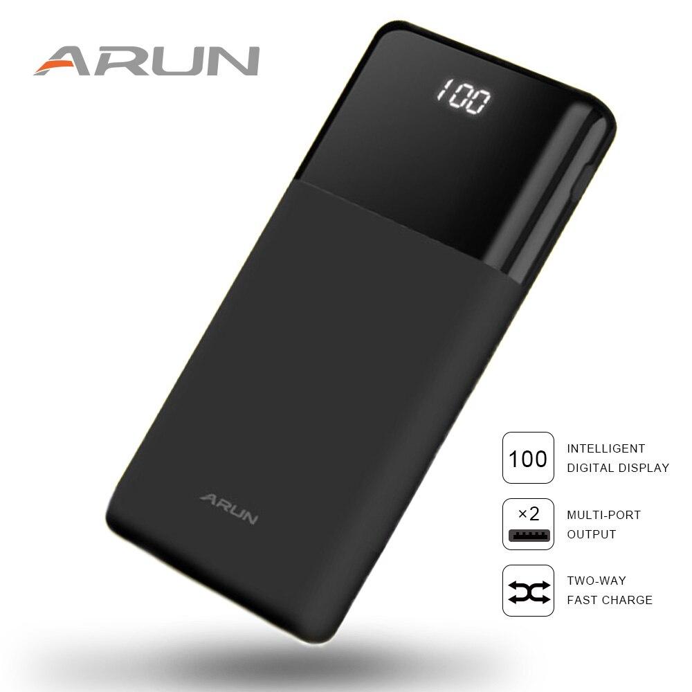ARUN Puissance Banque 20000 mah LCD batterie externe powerbank Portatif Rapide Mobile de charge de Batteries pour iPhone Samsung poverbank cas